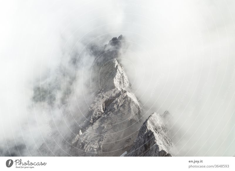 Mountain top rising from the clouds mountain Top of the mountain Clouds Stick out break through Encased in wrap Alps Rock Peak edge peak