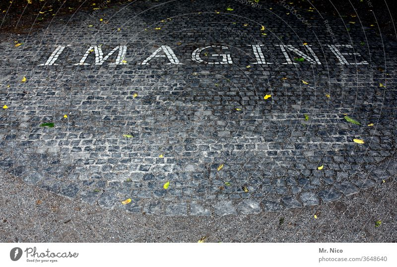Imagine imagine Characters Letters (alphabet) Word Gray Stone Circle Pattern Envisage Suppose Paving stone Cobblestones Structures and shapes Ground