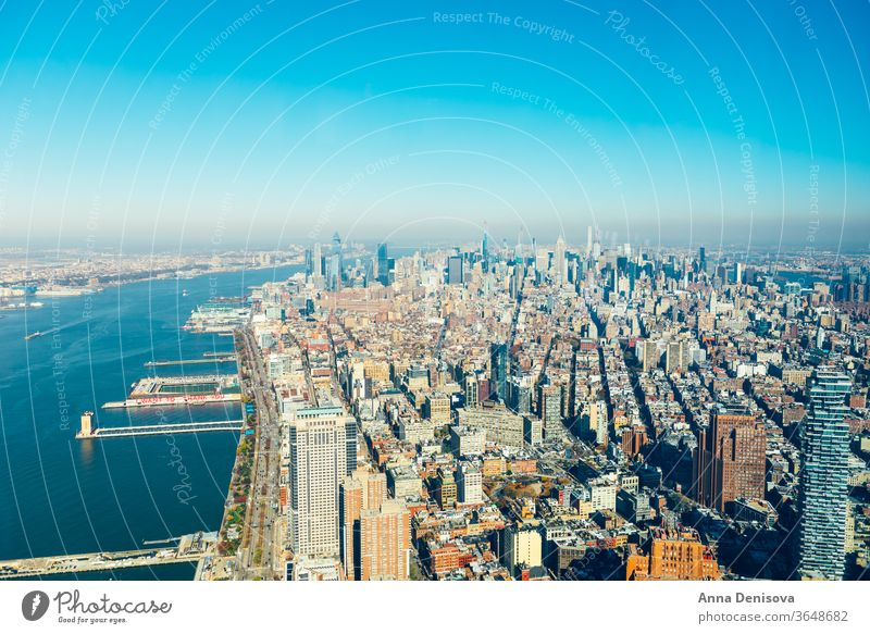 Amazing panorama view on New York City skyline and Manhattan new york city manhattan america usa nyc american landmark empire architecture urban downtown