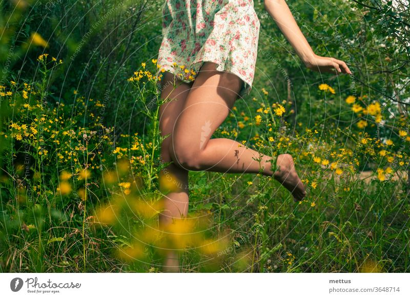 Happy girl dancing in the summer grass and yellow wildflowers legs dance part of body dress jump active female young beauty beautiful people action adult nature