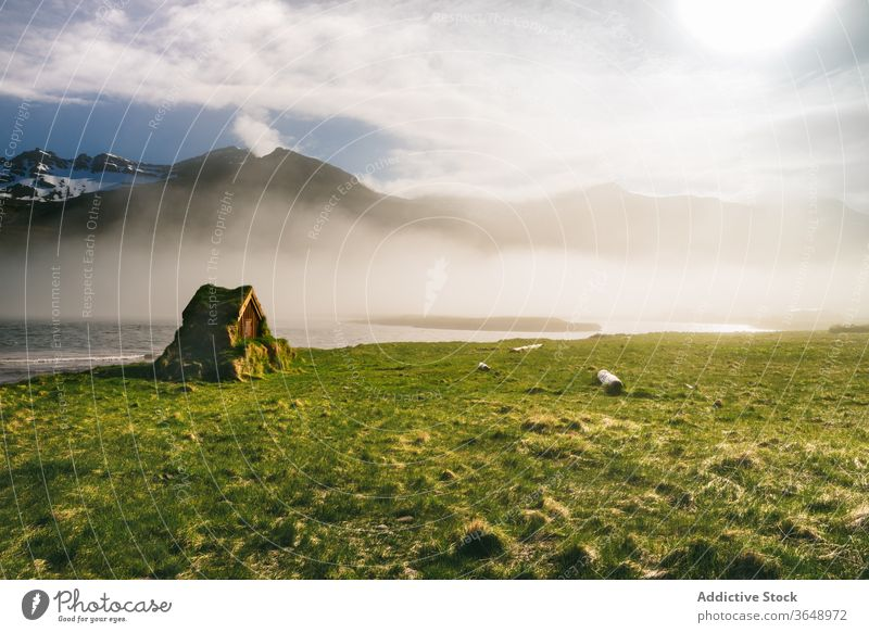 Cozy hut on lush meadow near lake and mountain fog morning landscape house shack moss scenery spectacular small mist idyllic serene peaceful calm tranquil water