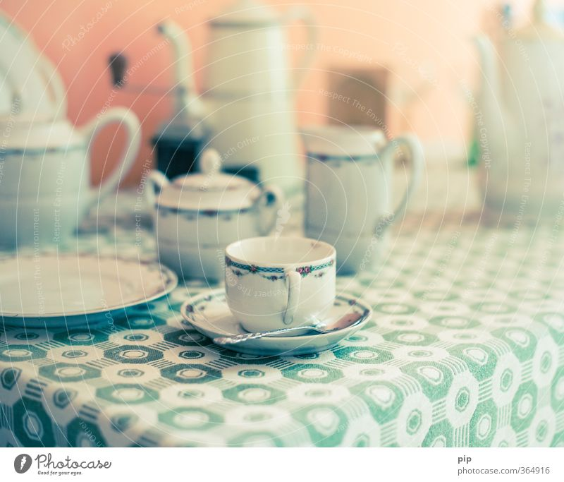 Table Beverage Coffee Kitsch Past Tea Crockery Cup Plate Cozy Vintage Tablecloth Ancient Coffee cup Saucer Coffee break