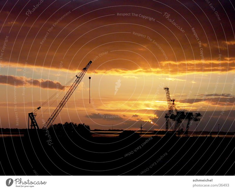 Sky Ocean Clouds Far-off places Industry Harbour Crane Dusk Bremerhaven