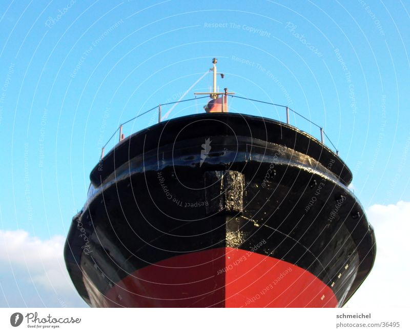 ship's bow Bow Frontal Ocean Bremerhaven Navigation ship's front North Sea sea giant Sky