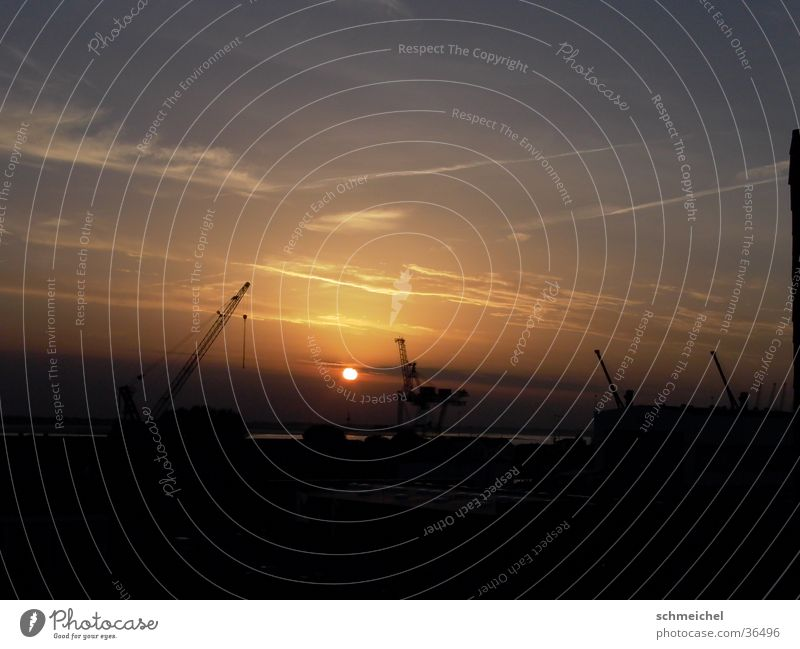 Horizon Industrial Photography Harbour North Sea Crane Dusk Bremerhaven