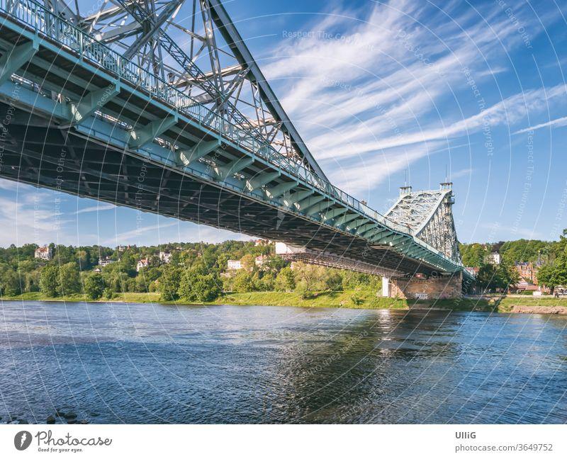 "Loschwitz Bridge, Dresden, Saxony, Germany - The Loschwitz Bridge ""Blaues Wunder"" in Blasewitz, Dresden, Saxony, Germany. Blue Wonder East Germany Elbe River"