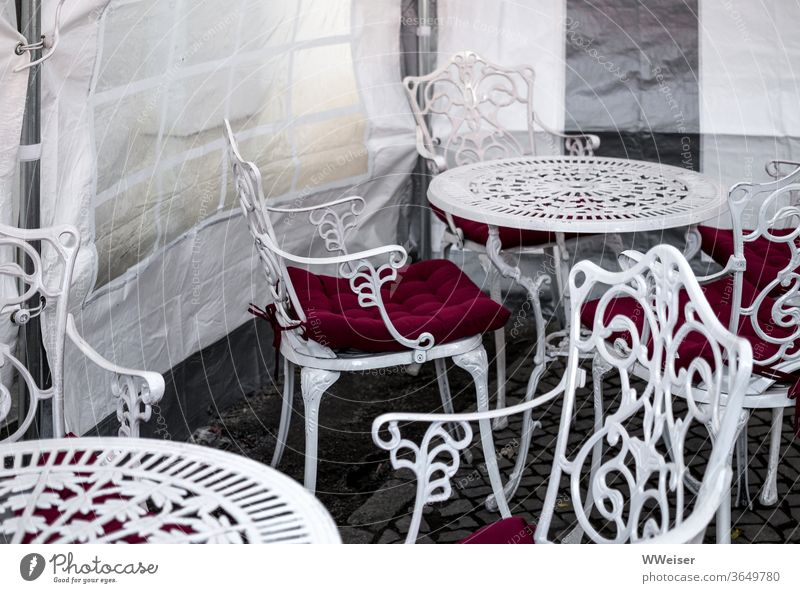 The ice season falls into the water ice cream parlour chairs tables Winter garden Café rainy chill Ornament vintage Ornate Outdoor furniture wind deflector Tent