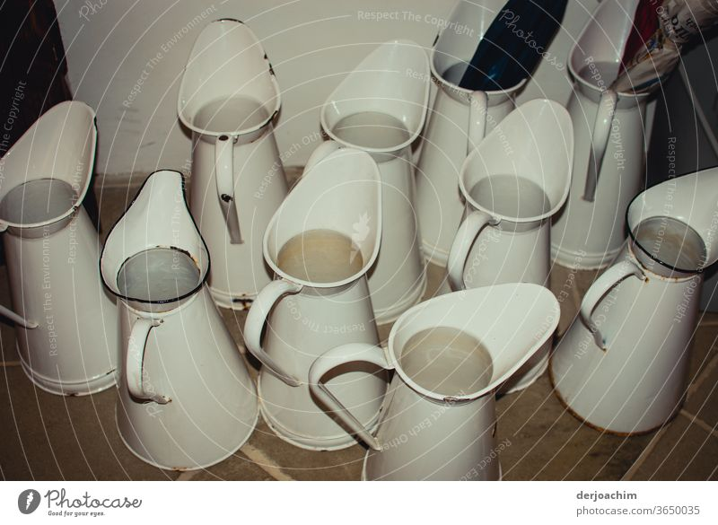 The bathing fun can begin with many old water jugs, in white. Jug Water Watering can Cast Colour photo Craft (trade) Summer White Wet Interior shot Gardening