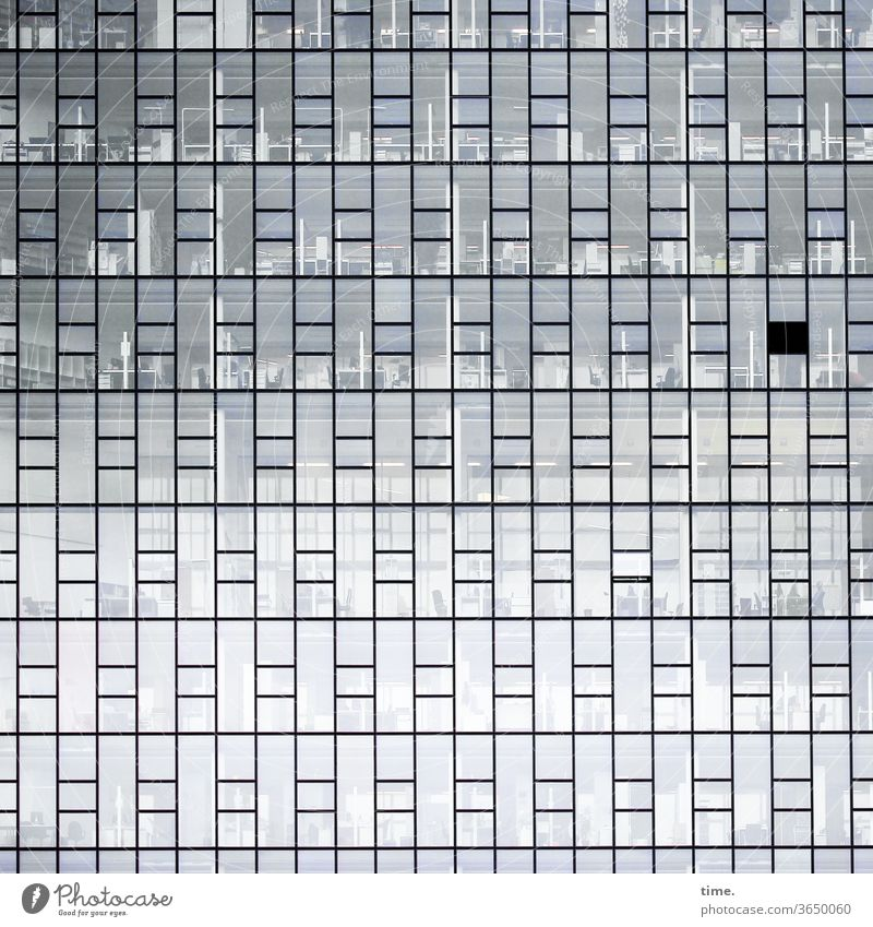 closed shop and an open window office space Glas facade Architecture Wall (building) built Closed Whimsical safeguarded Inspiration Window Parallel Gray urban