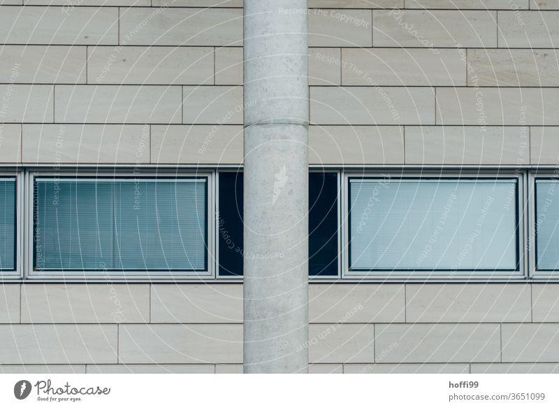 Column, windows and tiles on the wall minimalism Minimalistic columns Window pane reflective Architecture Modern dreariness Gray Facade Line Design Gloomy