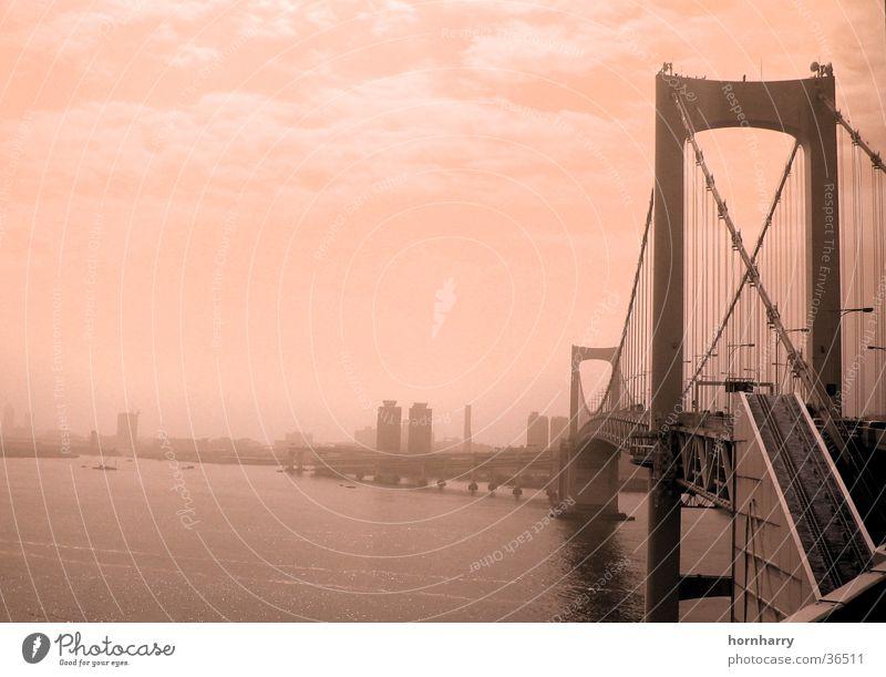 Water Ocean Clouds Street Coast Fog Bridge Japan Tokyo Suspension bridge