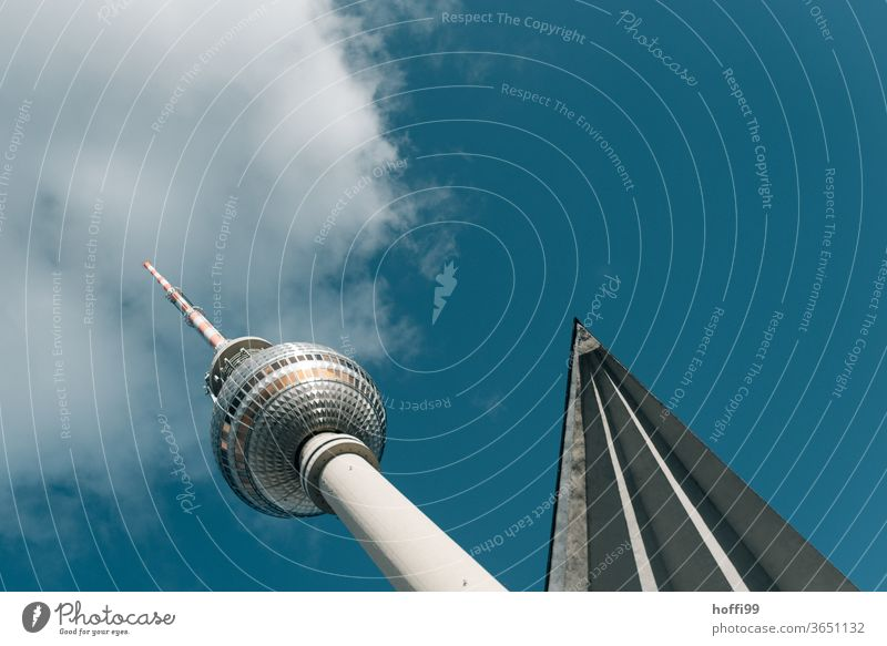 Tower with beam and cloud Berlin TV Tower Television tower Alexanderplatz Berlin Centre Downtown Berlin Capital city Manmade structures Tourist Attraction Town
