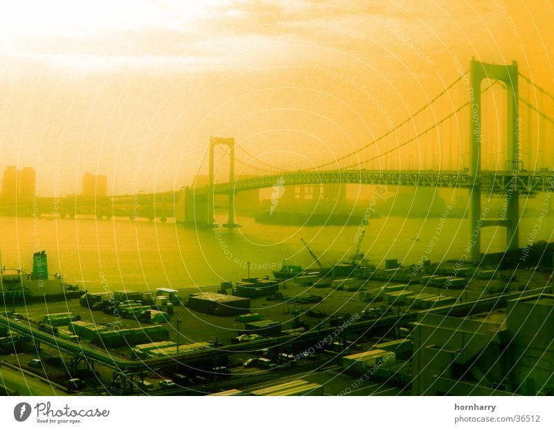 Tokyo 1 Suspension bridge Clouds Fog Ocean Bridge Street Water Coast