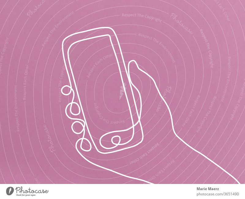 Mobile phone in the hand - line drawing Neutral Background mobile Communicate distraction Addiction Chat by hand Lifestyle Information Curiosity