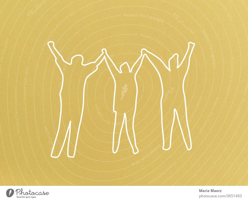 Cheering, joy, friendship: Line drawing with 3 people throwing their hands in the air together Joy Freedom Positive jubilant Success pleased luck Friendship