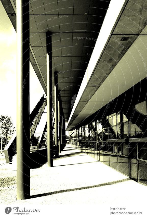 Building Metal Architecture Concrete Stairs Modern Dresden Trade fair Column Saxony Monochrome Duplex