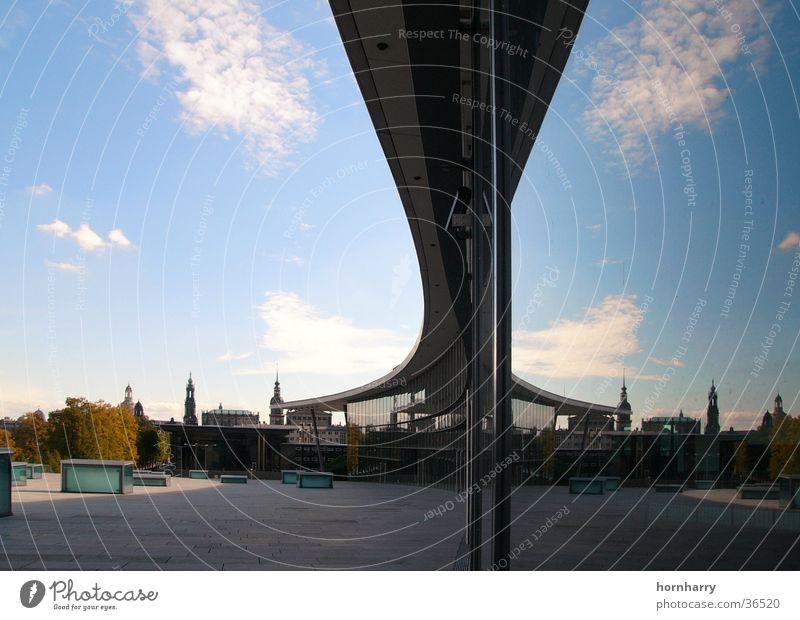 Sky Blue Clouds Architecture Glass Horizon Modern Roof Tower Dresden Mirror Trade fair