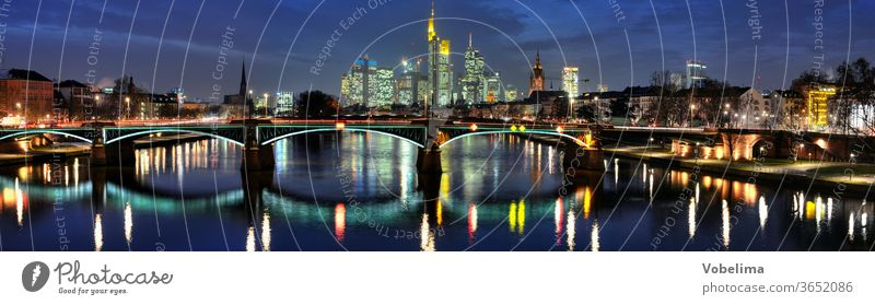 Frankfurt, evening Evening High-rise Main high-rise city evening mood panorama Across Landscape format Town City Skyline Rhein-Main area Hesse Germany brd HDR