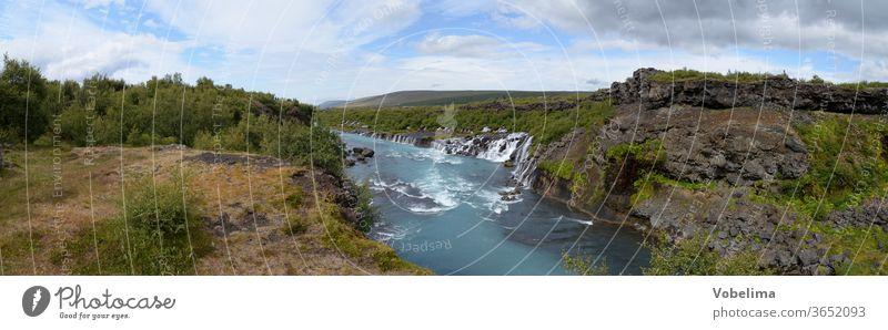 Panorama of the Hraunfossar, Iceland Hraun's fossil Waterfall Waterfalls cascade River Hvítá Húsafell Reykholt.hvita Nature Landscape worth seeing
