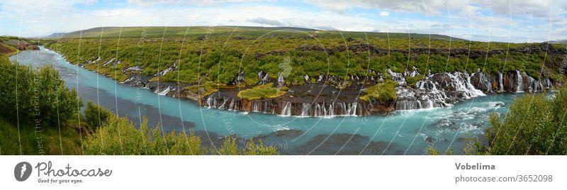 Panorama of the Hraunfossar in Iceland Hraun's fossil Waterfall Waterfalls cascade River Hvítá Húsafell Reykholt.hvita Nature Landscape worth seeing
