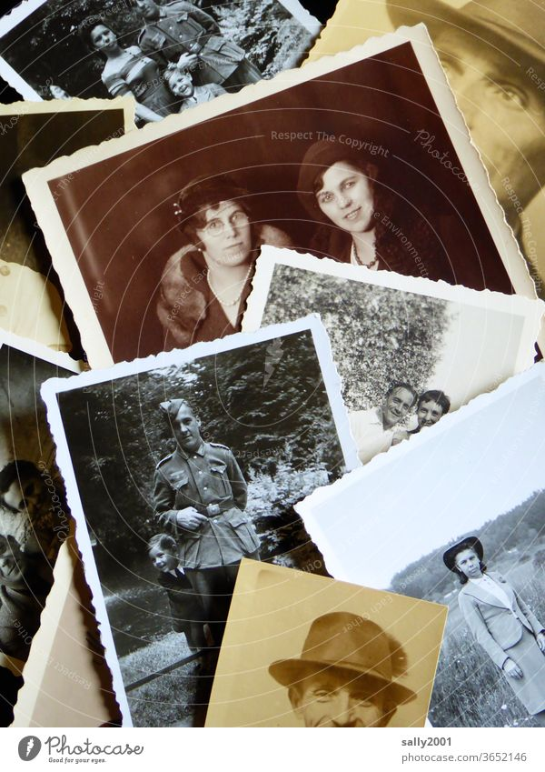 back to the roots | family Family Photos Family photos family album Grandparents Black & white photo Sepia 20s Hat Wehrmacht uniform Analog Old Photography Past