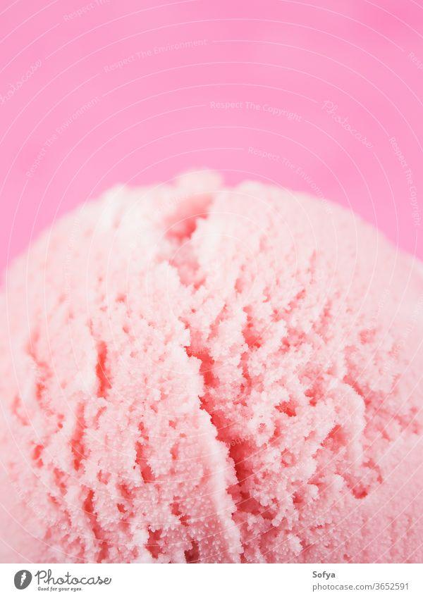 Strawberry ice cream cups with cherries, macro strawberry scoop ball gelato red cherry berries sundae yogurt sweet fruit temptation topping food garnish dessert