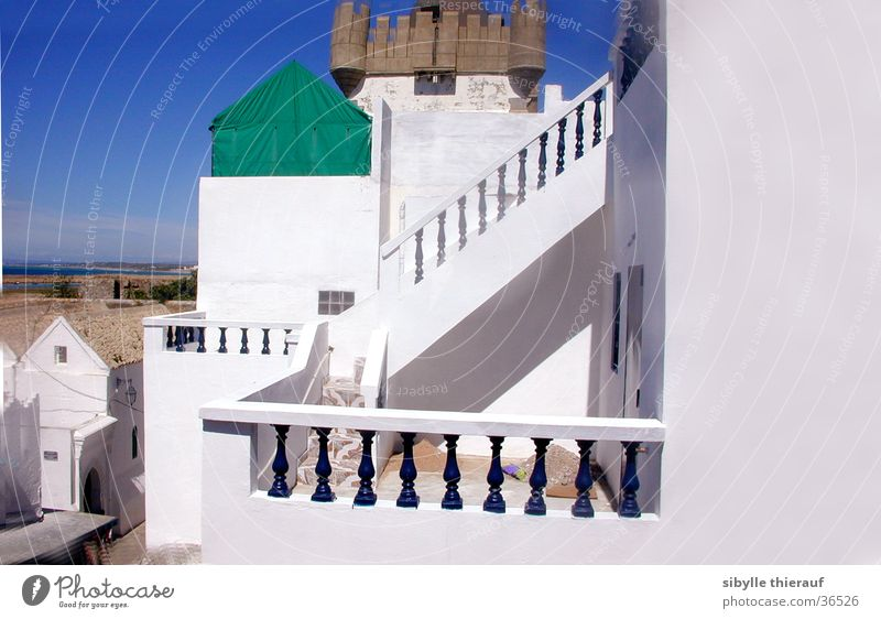 in Assilah Building White Wall (building) Light Architecture Vantage point Handrail Stairs Tower Morocco