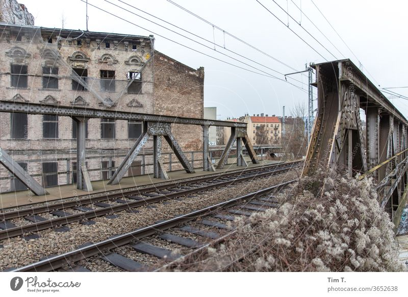 Living by the railway Berlin Lichtenberg Railroad tracks bridge House (Residential Structure) built Town Architecture Facade Window Deserted Capital city