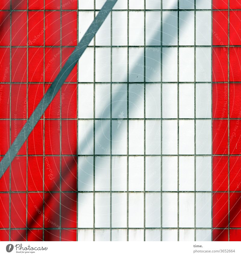Elevator Shaft urban Facade perspective Gray Across Parallel level Inspiration Surface sunny shady Metal Red lines Town tiles Diagonal Puzzle Wall (building)