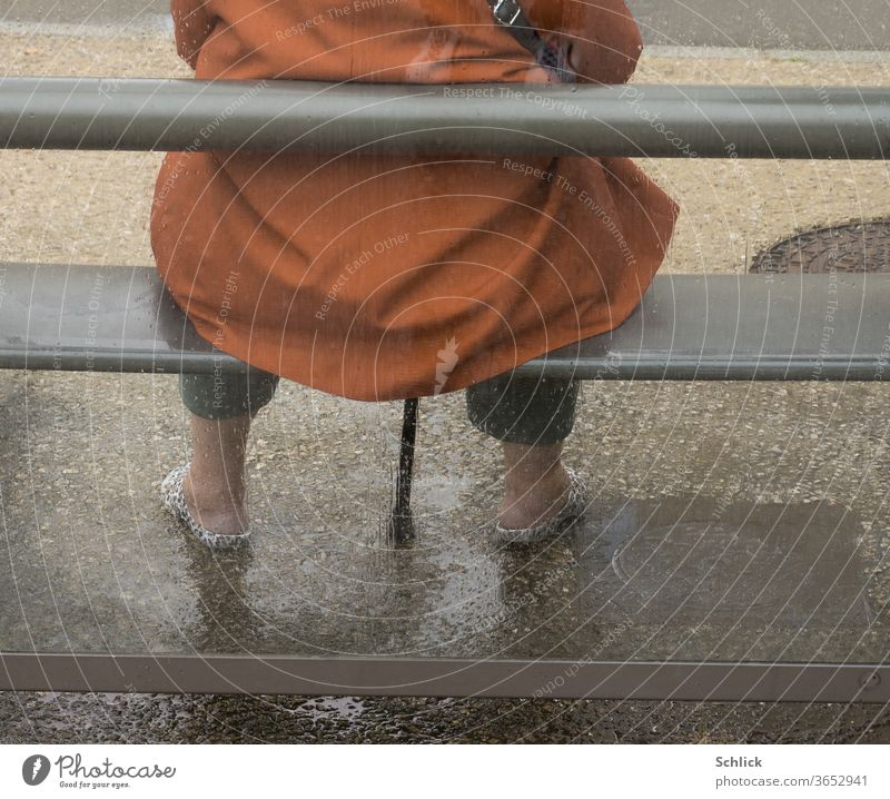 Woman with walking aid sitting on bench in bus shelter in rainy weather Rear view Shelter Rainy weather Walking aid Sit Wait fuselage without head
