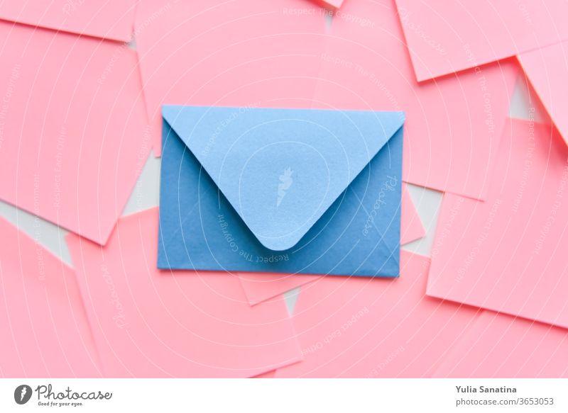 selective focus, blue envelope on the background of coral stickers pink design card love letter isolated set wedding paper art symbol celebration valentine