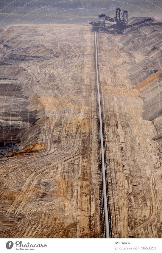 Conveyor belt in opencast mining open pit mining Energy industry Garzweiler Soft coal dredger Environment Lignite Coal Destruction Excavator Excavation
