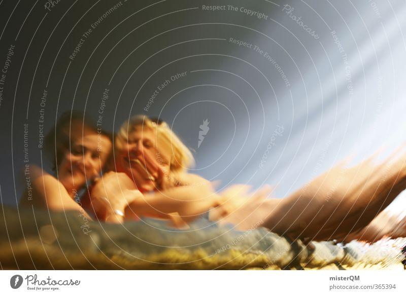 Optical illusions. Art Esthetic Surrealism Distorted Reflection Illusion Dream world Mirror image Girl Woman Friendship Swimming lake Summer Lakeside