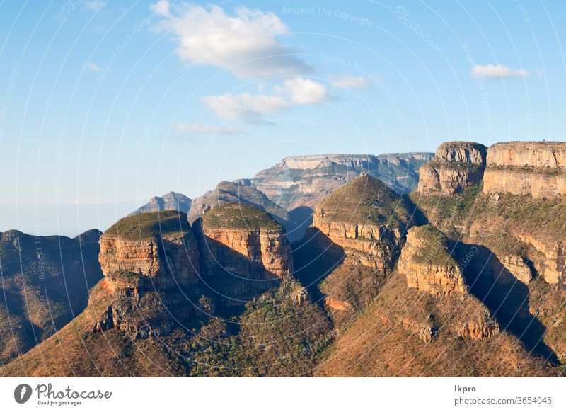in  south africa    river canyon  plant  and water blyde mpumalanga landscape nature drakensberg view three rondavels mountain panorama reserve dam rock green