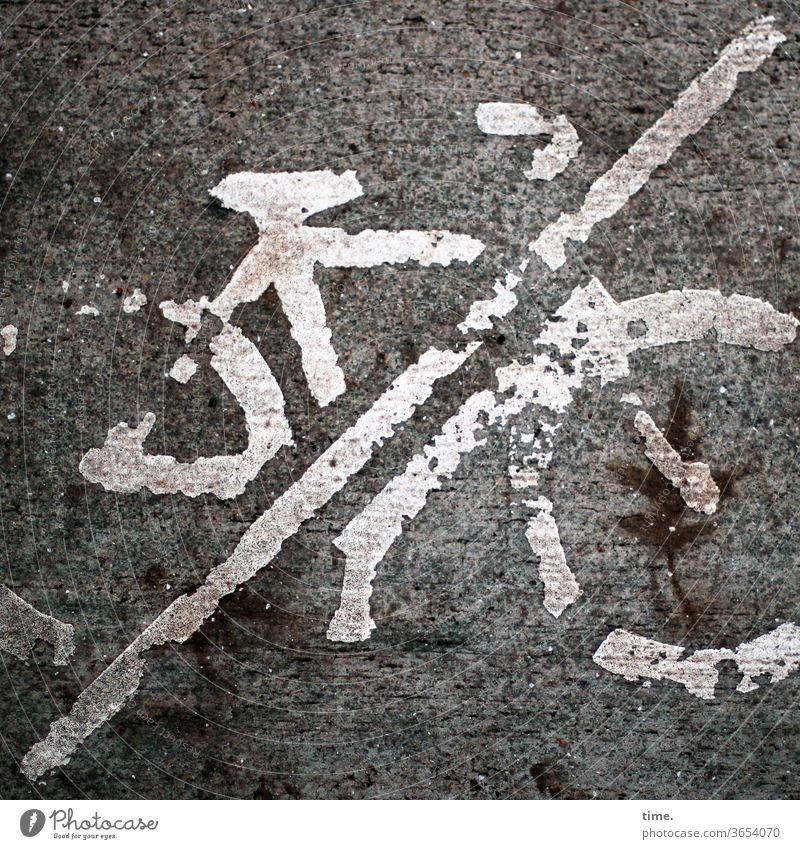 whack Street Bicycle Icon Clue watch Caution Warn look Wacky Trashy Broken functional Protection Safety embassy Asphalt Tar interdiction Road sign