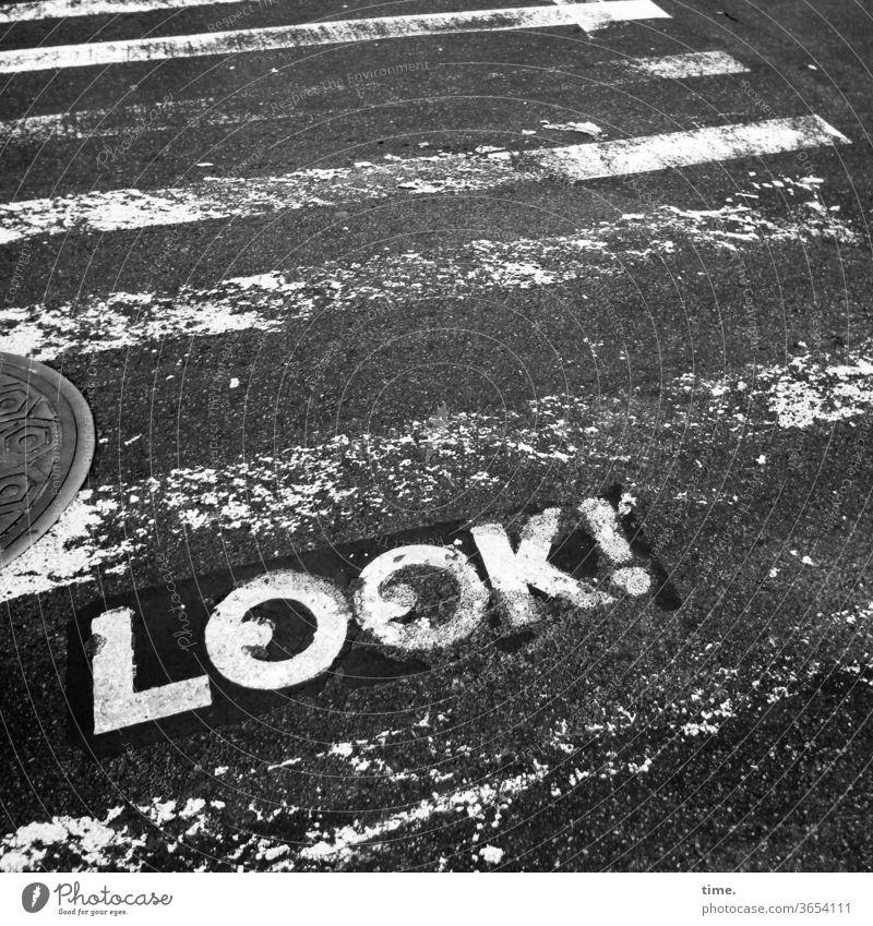 Life Insurance Street Zebra crossing Word Clue watch Caution B/W manhole cover Gully Warn Letters (alphabet) look Wacky Trashy Broken functional Protection