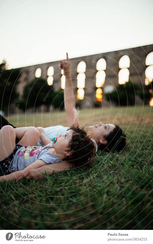 Mother and Daughter looking at sky motherhood Family & Relations Together togetherness Child Happy Lifestyle Parents Happiness Love people Smiling Delightful