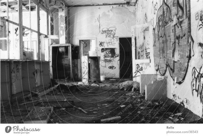 WG room for rent! Room Untidy Joint residence Vandalism Dirty Broken Historic Old Destruction Living room Black & white photo