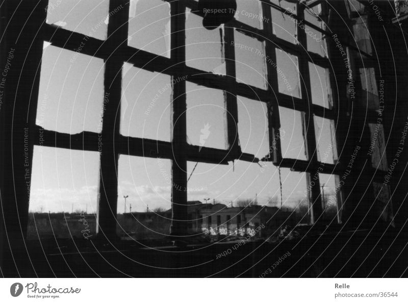 Close the window. There's a draught. Window Broken Window frame Alsen Destruction Ruin Industry smashed Old Black & white photo depressive Fear