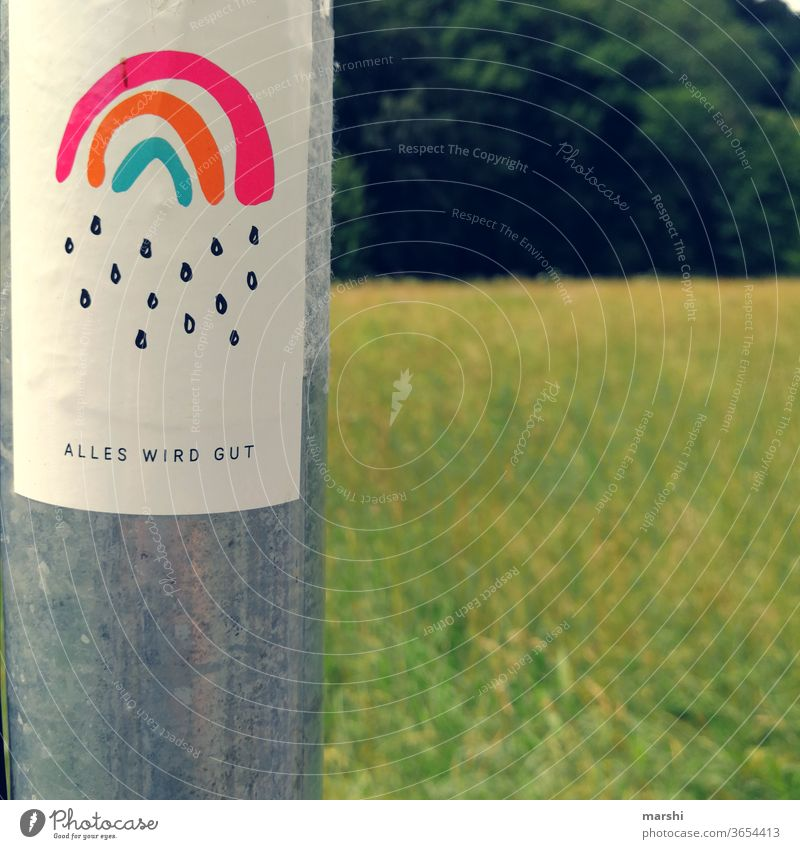 everything will be all right Hope sticker sign Clue Nature corona pandemic Rainbow all's well symbol stickers Pole hopeful