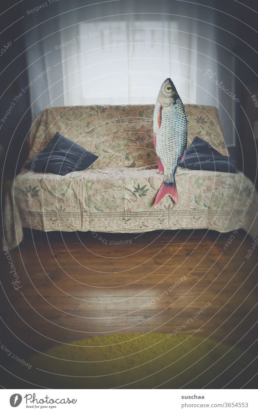 fish sitting on a sofa. date with fish Film worthy Funny Idea History of the Whimsical Strange Crazy Remixcase Fish Sofa Date Living room Absurdity bollocks