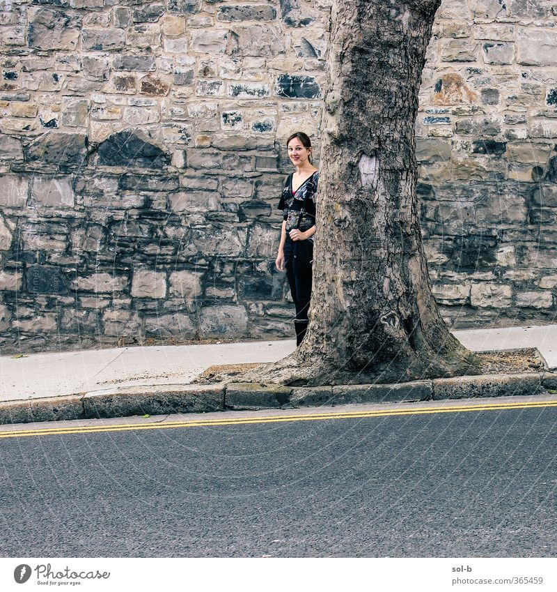 logic Human being Child Nature Youth (Young adults) City Tree Young woman Adults Wall (building) Street 18 - 30 years Feminine Funny Wall (barrier) Gray Stone