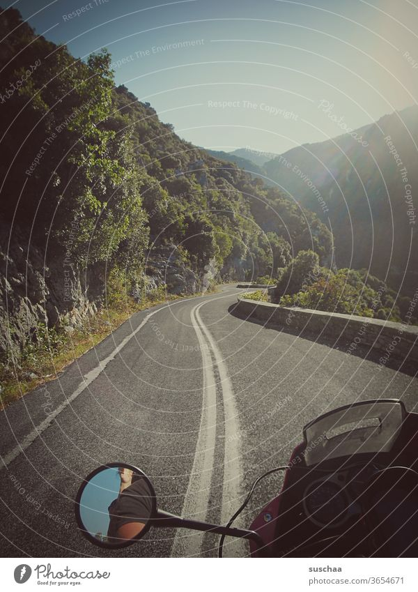 on the motorcycle somewhere in greece Motorcycling passenger in the mountains vacation holidays Vacation & Travel go away travelers Winding road Motorcycle