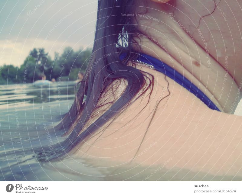 wet shoulder of a teenager in seawater Summer Lake bathe stay at home holidays at home seaside resort be afloat Wet cooling Skin hair Shoulder Neck girl