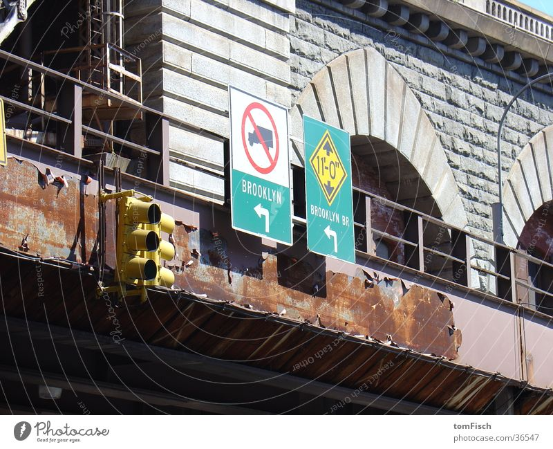 Street Signs and labeling Transport Bridge Rust Traffic light Left