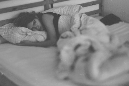 chilling during vacation in Berlin sleep bed morning natural film Black & white photo Bedroom Dream Girl early morning girlfriend film photography Relaxation