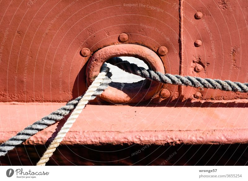 Hawse lines and mooring lines hawse opening Ship's side bulwark ship's side Linen ropes Colour photo Deserted Navigation Exterior shot Maritime Day Harbour