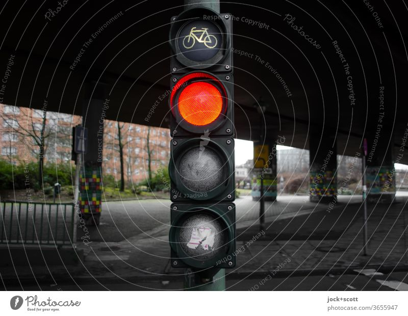 bicycle traffic light Berlin shows red Traffic light Bicycle traffic light Mobility Road sign Traffic infrastructure Symbols and metaphors