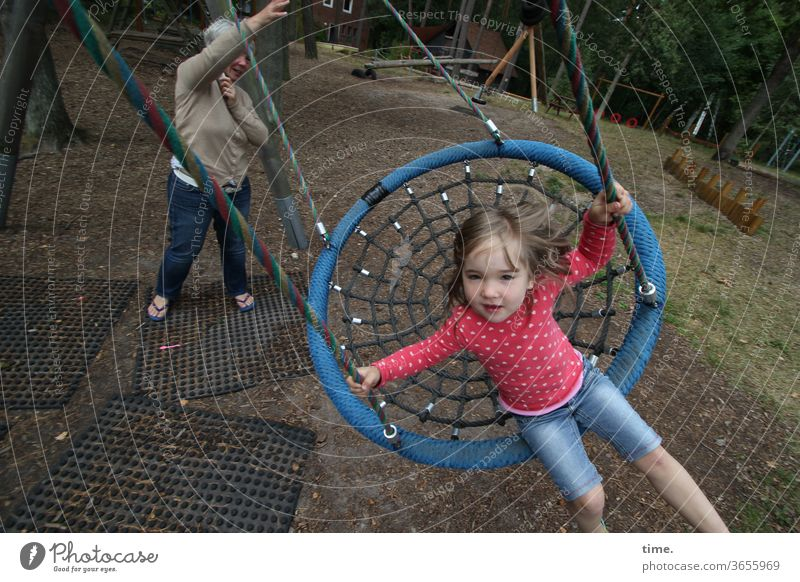 get one's act together girl To swing enthusiastically Movement Playground jeans Blonde out Swing To hold on push watch Daughter Mother