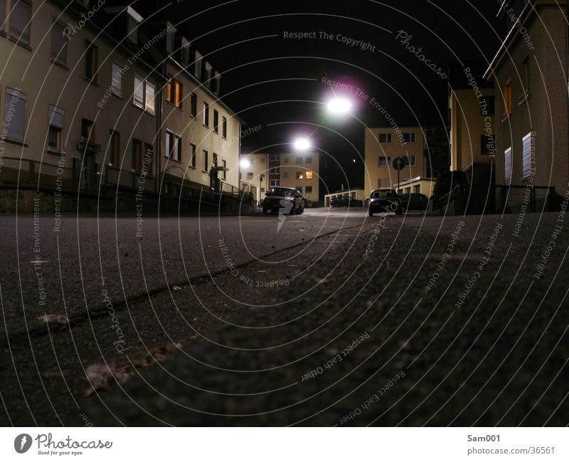 House (Residential Structure) Street Dark Bright Transport Moon